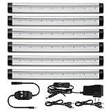 Under Counter LED Lighting Dimmable - Albrillo Under Cabinet LED Lighting for Kitchen Closet Shelf, 2000 Lumen Warm White 3000K, 6 Pack