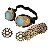 Dovewill 10 piece Steampunk Gear Pendant Findings and Steampunk Victorian Goggles welding Glasses Diesel Eye Protect Outdoor Eyewear