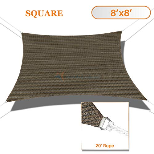 (TANG Sunshades Depot Brown 8'x8' Square UV Block Sun Shade Sail Perfect for Outdoor Patio Garden Pergola Gazebo Canopy Dock Deck Playground Preschool Heavy Duty 180 GSM Customize Made Size)