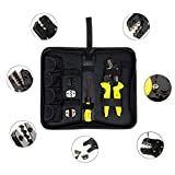 TIWWS 4in1 Crimping Tool Kit,D4 Crimping Pliers Set,Multifunctional Ratchet Crimping Tool 26-10 AWG Terminals Pliers Kit(Wire Crimpers+S2 Screwdiver+Spare Terminals+Screws+Storage Bag) Yellow