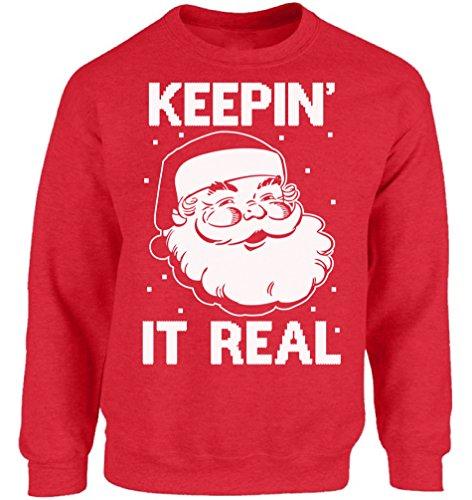Ugly Christmas Sweater co Santa Sweatshirt Santa Outfit Xmas Christmas Sweatshirt Keepin It Real M -