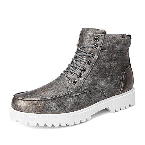 Le calzature sportive FEIFEI Scarpe da uomo antiscivolo Mantenere caldo stivali di fondo morbidi Martin 3 colori (Colore : Marrone, dimensioni : EU42/UK8.5/CN43) Grigio
