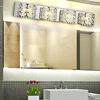 Modern Stainless Steel LED Clear Crystals Bath Vanity Light Wall Lamp  Fixture In Chrome (4
