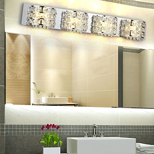 (Modern Stainless Steel LED Clear Crystals Bath Vanity Light Wall Lamp Fixture in Chrome (4-Light))