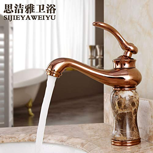 A redOOY Faucet Taps Copper Natural Jade Hot And Cold Water Faucet pink gold Marble Antique Faucet gold Faucet, Sapphire