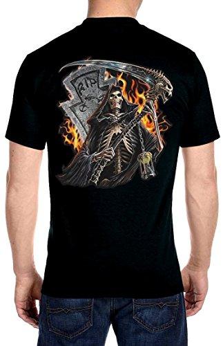 Rip Out Skull T-shirt - Leather Supreme Men's Grim Reaper Tombstone Flames Biker T-Shirt-Black-XL