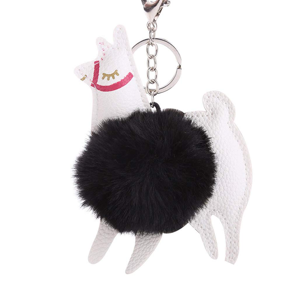 Finance Plan Big Promotion Lovely Alpaca Faux Fur Ball Keyring Car Key Chain Women's Bag Hanging Decor Black