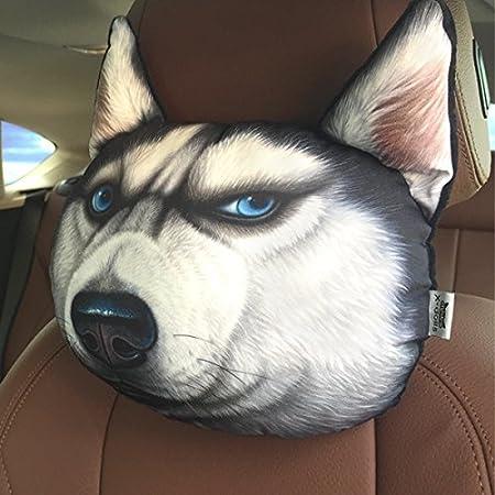 16 Kinds of Optional Creative Funny 3d Printed Lifelike Plush Cartoon Animals Car Headrest Head Pillow Protect Seat Neck Dog/cat/tiger/leopard (angry cat) HOT SEAL JYX01TZ13