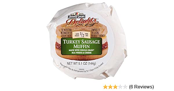 amazon com jimmy dean d lights turkey sausage egg white and cheese breakfast sandwich muffin 5 1 ounce 12 per case