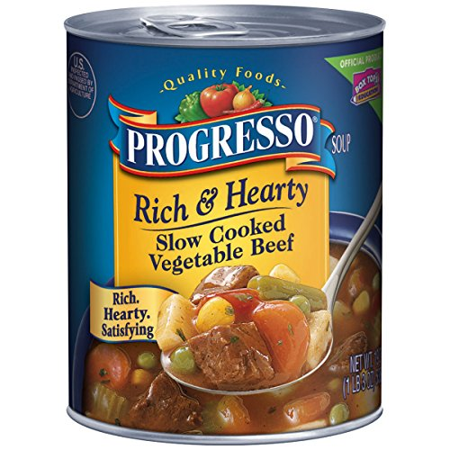 Progresso Rich & Hearty Soup, Slow Cooked Beef and Vegetable, 19-Ounce Cans (Pack of 12) ()