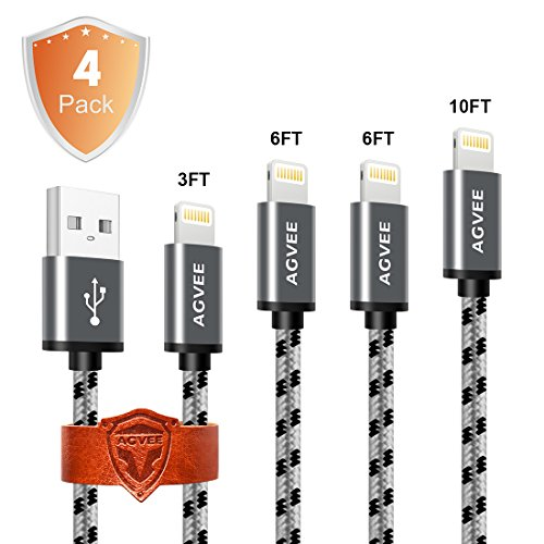 Ends Tip Never Break and Cruel 4A Current Heavy Duty, Agvee 4Pack 3FT 6FT 6FT 10FT Lightning Cable Set Charger Braided Durable Fast Cord Certified to USB Charging for Apple iPhone X 8 7(Black in Gray)