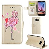 Samsung Galaxy S6 Edge Case, Ailisi [Pink Flamingo] Leather Wallet Flip Phone Case Magnetic Cover with TPU Inner, Shock-Absorption Protective Case with Card Slots, Stand Function (Gold)