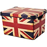 Curver 22 Litre Large Plastic Stockholm Deco Union Jack Storage Box, Multi-Colour by Curver