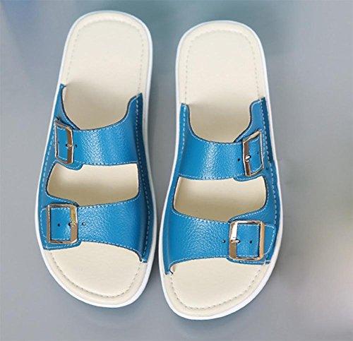 Frau leichte Outdoor Sommer mit schweren Boden Strandschuhe Sandalen und Pantoffeln Blue