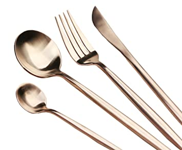 Elome 4-Piece Flatware Set, Stainless Steel Cutlery Set, Vintage Design Cutlery for