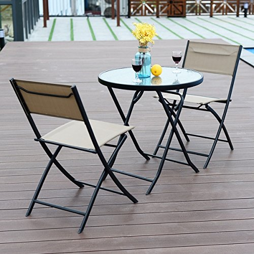 Costway 3 Piece Table Chair Set Metal Tempered Glass Folding Outdoor Patio Garden Pool by COSTWAY (Image #5)