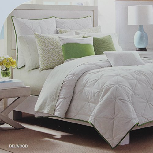 Nautica Twin Size Comforter (Nautica Twin Size Coverlet Quilt from the Delwood Bedding Collection Ivory and Green Color Pattern RN76948)