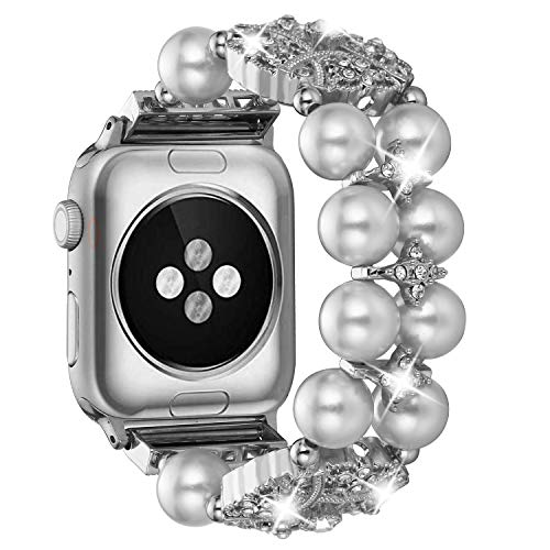 Ritastar Apple Watch Band Bracelet, Metal Rhinestone Bling Replacement Iwatch Wristband, Pearl, Diamond and Beads Band Jewelry Wristband 38mm 40mm Compatible Iwatch 4/3/2/1 Series, White