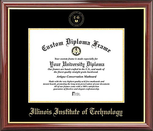 Laminated Visuals Illinois Institute of Technology Scarlet Hawks - Embossed Seal - Mahogany Gold Trim - Diploma Frame