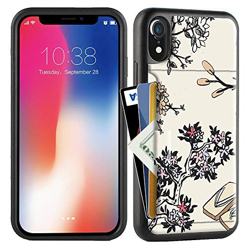 ZVE Case for Apple iPhone XR, 6.1 inch, Wallet Case with Credit Card Holder Slot Slim Leather Pocket Protective Case Cover for Apple iPhone XR 6.1 inch (Aries Series)- Hibiscus