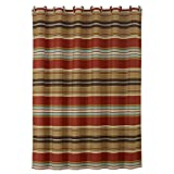 Southwestern Shower Curtain Horizontal Striped Shower Curtain ,Luxe Gold Red Blue, Mexican, Native, Western, Country Bath Polyester, Brown Striped Shower Curtain