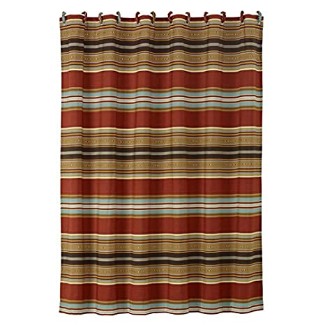 Southwestern Shower Curtain Horizontal Striped Luxe Gold Red Blue Mexican Native