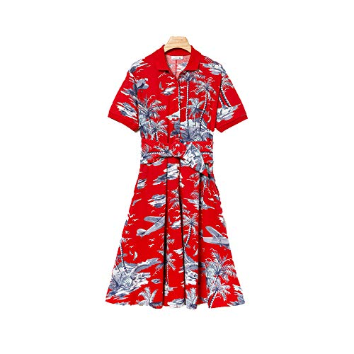 Lacoste Women's S/S Belted Hawaiian Print Pique Polo Dress, SALVIA ()