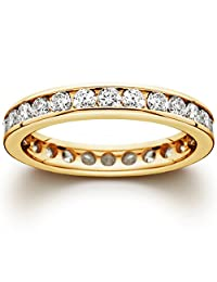 1 1/2 CT Channel Set Eternity Diamond Ring 14K Yellow Gold