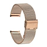TRUMiRR 18mm Watch Band Milanese Loop Stainless Steel Strap for Huawei Watch, Huawei Fit Honor S1,Asus ZenWatch 2 WI502Q 2015, Withings Activite/Steel/Pop, with Tool and Spring Bar, Rose Gold