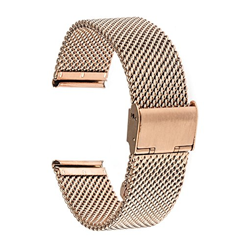TRUMiRR 18mm Watch Band Milanese Loop Stainless Steel Strap for Huawei Watch 1st/Fit Honor S1, 36mm daniel wellington , Withings Activite/Pop/Steel HR 36mm, LG Watch Style,Rose Gold (18 Mm Watch Bands Rose Gold)
