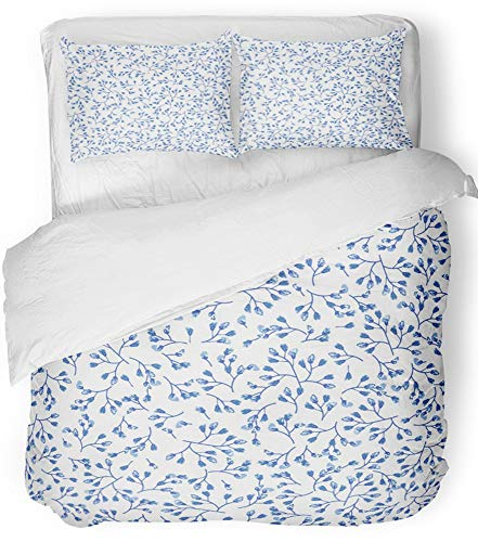 (Emvency 3 Piece Duvet Cover Set Breathable Brushed Microfiber Fabric Elegant Gentle Blue and White in Small Scale Flower Buds Millefleurs Liberty Bedding Set with 2 Pillow Covers Twin Size)