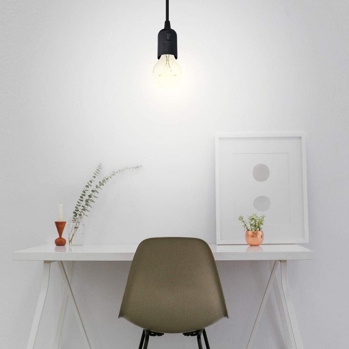 kwmobile Douille E27 avec fil Support de lampe pour ampoule avec cordon alimentation prise /électrique et interrupteur C/âble 3,5m