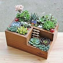 Wooden Garden Window Box Trough Planter Succulent Flower Bed Pot, Three Grid