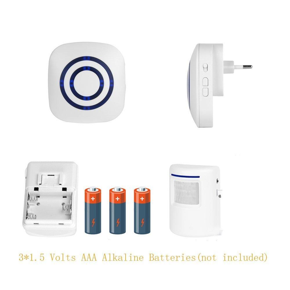 Alarma de seguridad, Domowin Timbre de Alarma Detector de presencia Portš¢til impermeable Avisador de Puerta 2 Sensores & 1 Receptor 38 melodšªas: ...