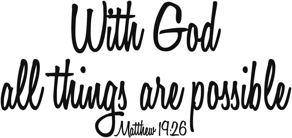 ZSSZ with God All Things are Possible Matthew 19:26 Vinyl Wall Decal Religious Home Décor Christian Quote Wall Sticker Handwriting Art Letters Bible Scripture