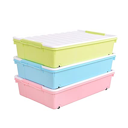 YONGHUN Bed Clothes Storage Box With Pulley Plastic Sorting Box Large Clothing  Box Storage Box 3