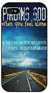iPhone 5 / 5s Finding God when you feel alone - black plastic case / Inspirational and motivational, Bible verse, biblical, verses