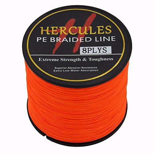 Hercules 300m 328yds Orange 10lbs-300lbs Pe Dyneema Braided Fishing Line 8 Strands (80lb/36.3kg 0.48mm)
