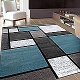 Contemporary Modern Boxes Area Rug 9' X 12' Blue/Gray