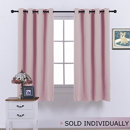 NICETOWN Blackout Room Darkening Curtain Panel - (Baby Pink/Lavender Pink Color) Home Decoration Thermal Insulated Light Reducing Drapery/Drape for Girl's Room, 52Wx63L, One (Bloom Baby Furniture)