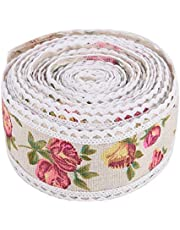 Rollo de lino de encaje ondulado,patrón de encaje de lino de 5 metros Patrón de encaje de bricolaje Cinta de arpillera de flores impresas Correa de cinturón de yute de arpillera para suministros de