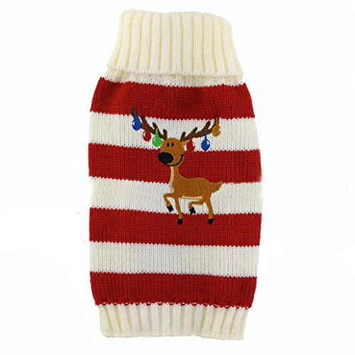 AMA(TM) Christmas Bells Elk Pet Dog Winter Sweater Coat (S, Red)