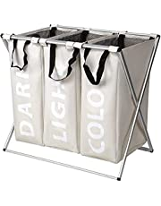 SortWise 3 Section Foldable Laundry Baskets Hampers - Laundry LinerBags Sorter Organizerfor Bedroom, Bathroom, Laundry room ( 90L )