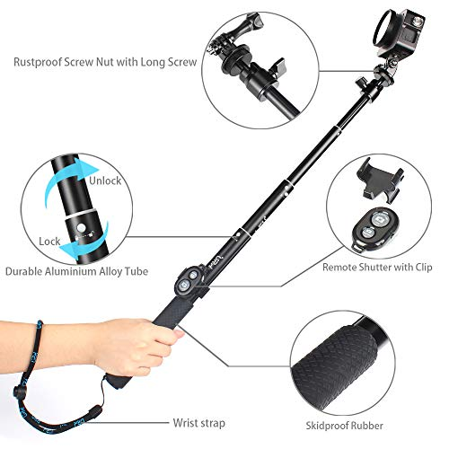 Selfie Stick Bluetooth,Waterproof Hand Grip with Wireless Remote and Tripod Stand for GoPro Hero(2018)/GoPro Hero 7/6/5/4, Selfie Stick for iPhone X/iPhone 7/8/7 Plus/8 Plus and Other Action Cameras