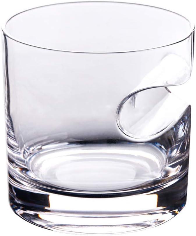 AIKASA Lot de 2 Verres /à Whisky avec Porte-Cigare Fait /à la Main en Cristal Vintage pour vin Bourbon Brandy 350 ML