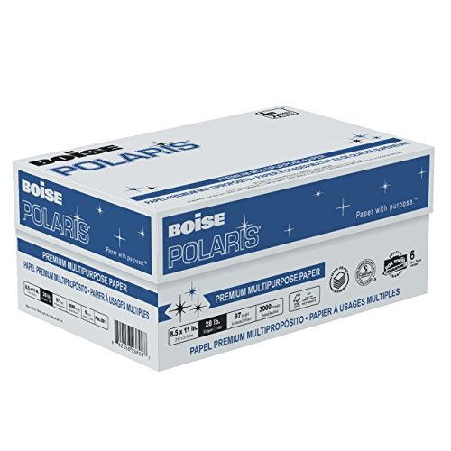 BOISE POLARIS PREMIUM MULTIPURPOSE PAPER, 8 1/2'' x 11'', Letter, 97 Bright White, 28 lb., 3000 Sheets/Carton, 48 Cartons/Pallet