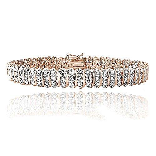 18K Rose Gold Plated Brass 1ct TDW Diamond S Tennis Bracelet by Jawa Fashion