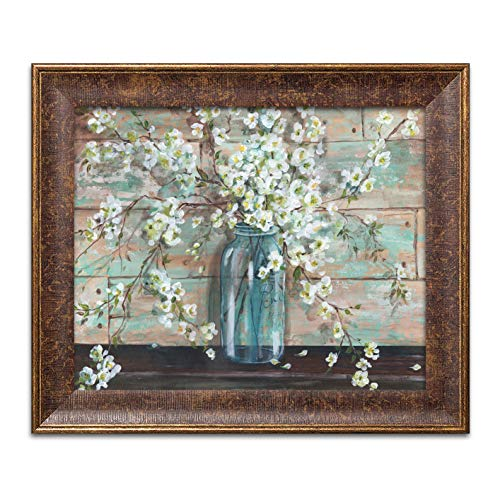 Gango Home Decor Beautiful Watercolor-Style Blossoms in A Mason Jar Floral Print by TRE Sorelle Studios; One 14x11in Gold Trim Brown Framed Print; Ready to Hang!