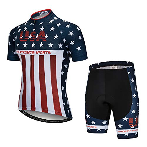 Cycling Jersey and Shorts Set Men Breathable Bike Shirt Summer Outdoor Youth Bicycle Clothing L