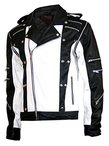 Michael Jackson Mj Pepsi Black & White Leather Jacket (Small) (Michael Jackson Outfits)